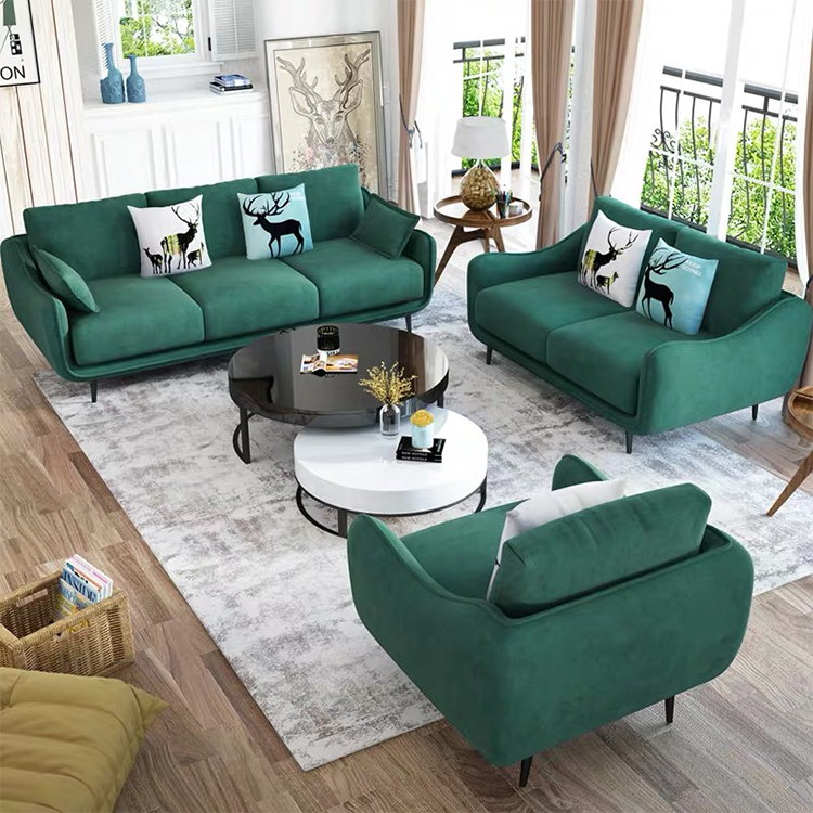 custom design post moderne home furniture luxury minimalist suede fabric villa 3 seater sofa