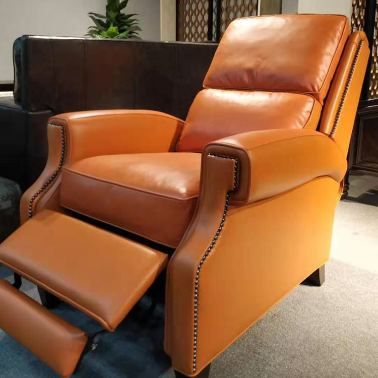 Modern restaurant floor single seater arm waiting luxury leather sofa lounge chair with pedals for office