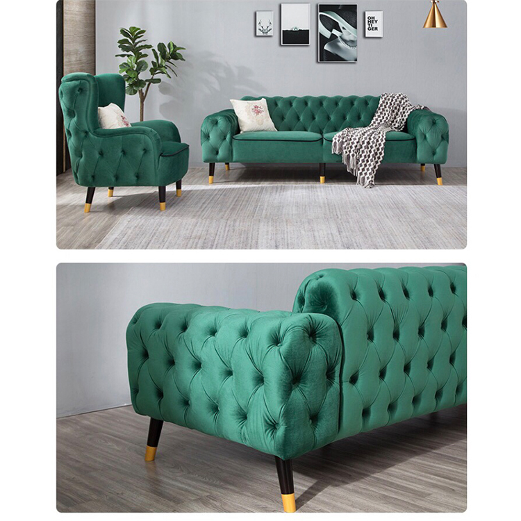 custom modern house living room apartment green velvet large sectional chesterfield single sofa set