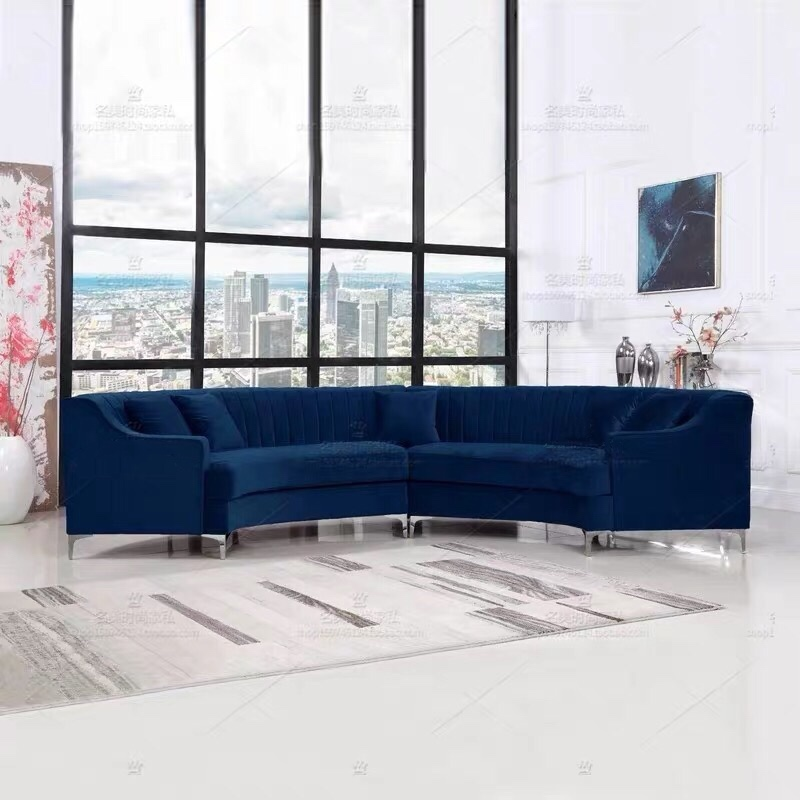 custom modern simple style fabric contemporary furniture half moon sofa