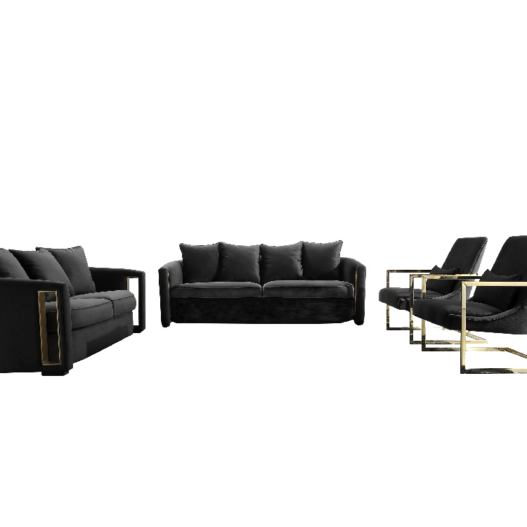 luxury lounge modern black fabric 7 seater wooden sofa set for living room