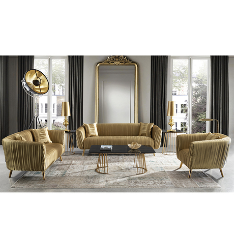 2019 new design fabric luxury couch livingroom gold round hotel lobby sofa