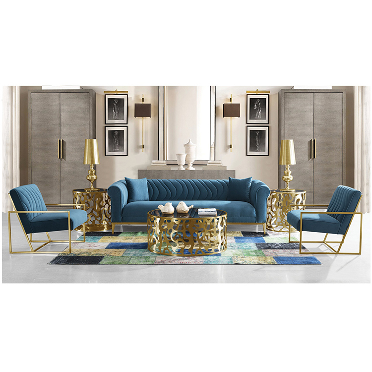 custom designs modern cheap luxury blue couch sofa furniture 7 seater set for living room