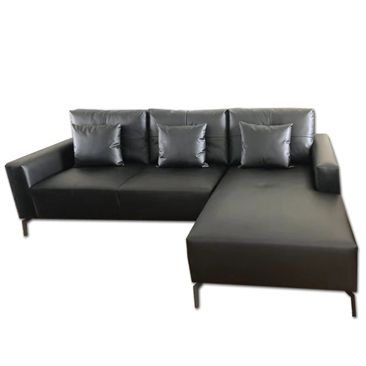 Italian style morden luxury black couches furniture 5 seater leather recliner sofa bed set for lobby