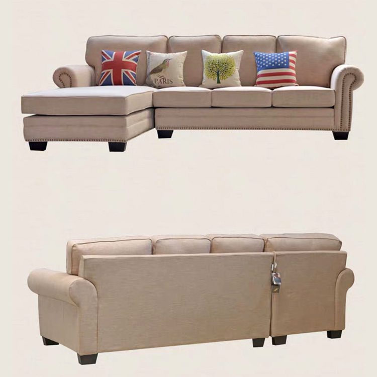Smooth wooden linen fabric l shaped couch furniture corner 7 seats sofa for lobby