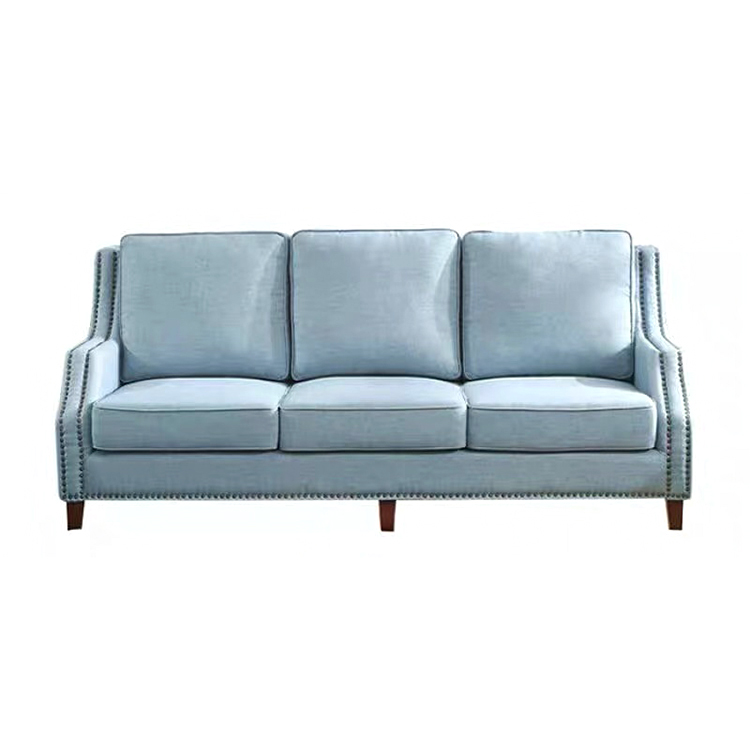 Modern attractive design blue green fabric 3 seat furniture wooden fabric covers living room sofa