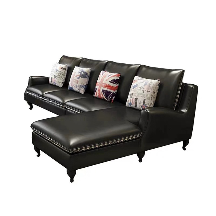 Wholesale American morden luxury black couches living room furniture 5 seater leather recliner sofa bed set