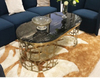 Customization Nordic Luxury Furniture Living Room Golden Stainless Steel Coffee Table with Brown Glass