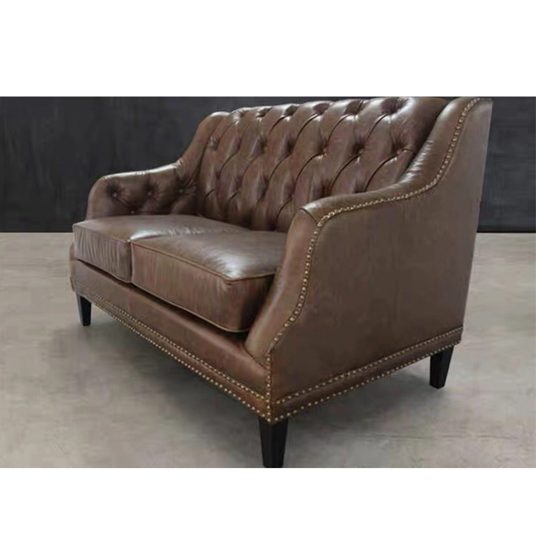 European comfortable relaxation living room furniture 3 seater sofa set of chesterfield leather sofa