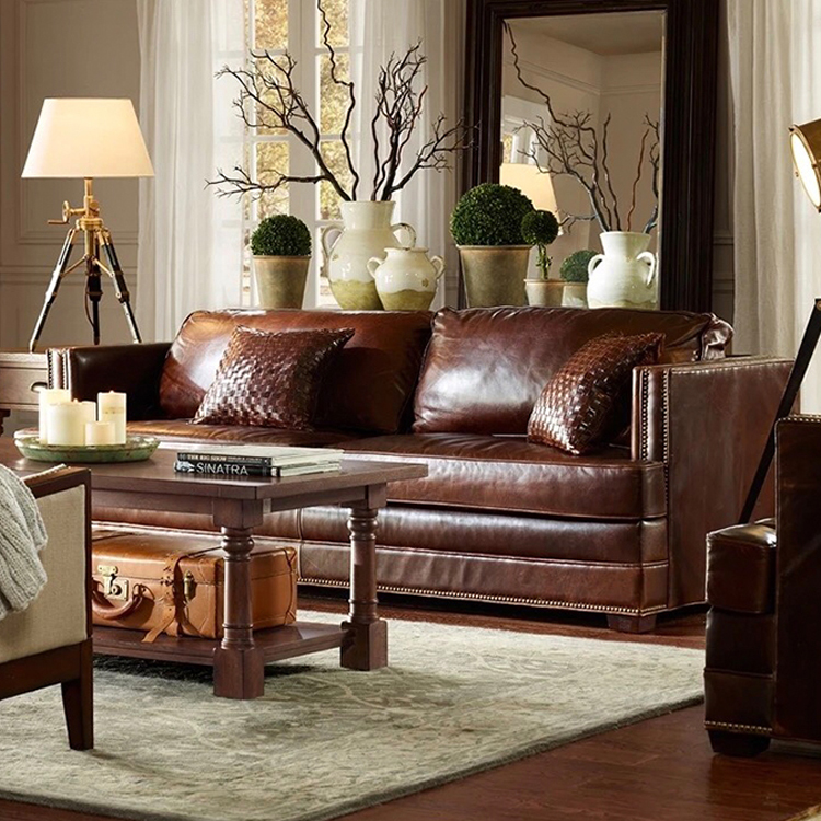 custom italian modern luxury home furniture 7 seater brown real genuine leather seats sofa set for living room