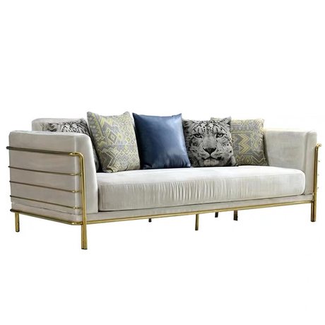 Attractive design garden waiting area living room luxury furniture velvet tufted dining 7 seat sofa set