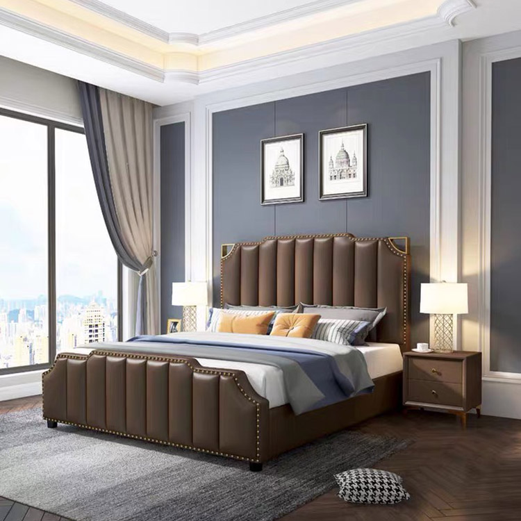 Delicate luxsery royal Elegant adult Brown leather home bedroom double bed
