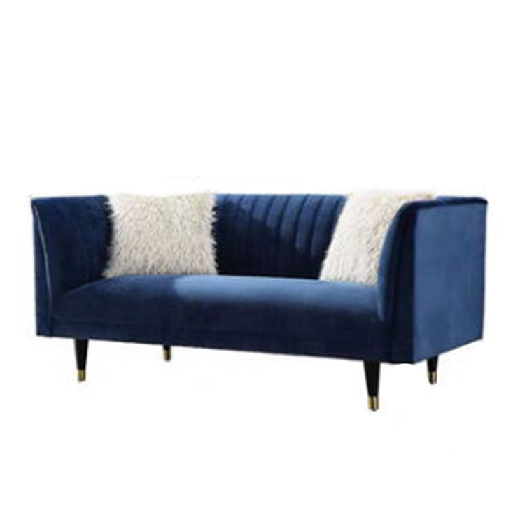 custom living room classic 2 set sofa blue velvet fabric with stainless steel leg