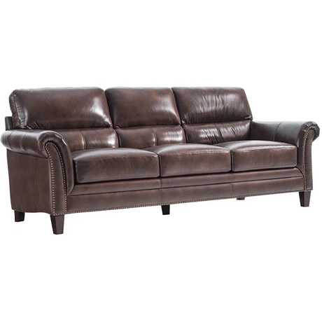 Antique Dark Red Half Leather Upholstered Sofa Bench For Bedroom And Living Room
