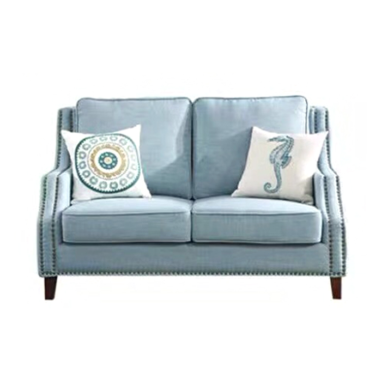 Royal style american blue green classic upholstered modern fabric 3 seat furniture wooden fabric covers living room sofa