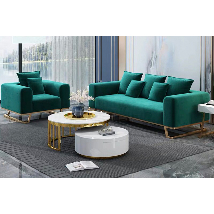 Relaxation american style modern cheap luxury royal furniture navy blue single sofa sets