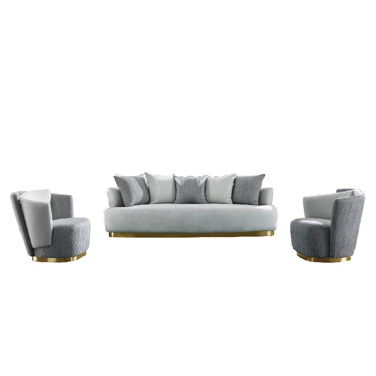 custom designs modern italy home cinema 3 piece new oval metal frame sofa set