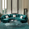 Luxury the most popular round couch living room sectional furniture royal velvet blue sofa set 7 6 seater