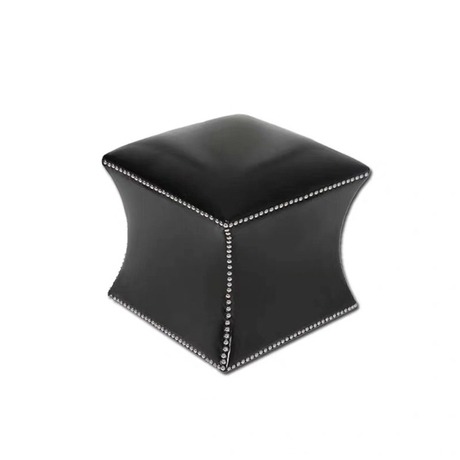 New fashion custom modern square brown black moroccan PU leather ottoman pouf stool