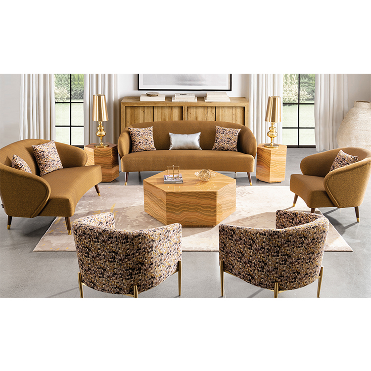 wholesale american modern outdoor sectional luxus light two-seater golden sofa chair