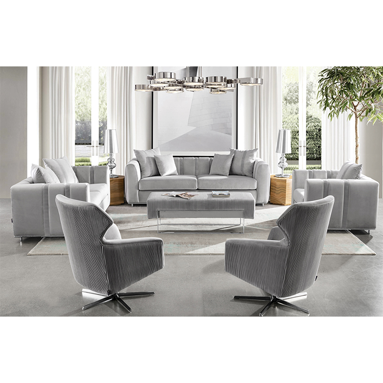 Soft modern couch living room sectional furniture royal velvet sofa set 7 seater